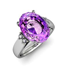 Amethyst 6.50ctw& Diamond Ring 14kt White Gold