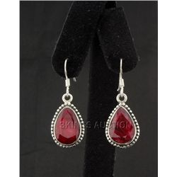 Sterling Silver 40.50ctw Pear Ruby Beryl Earring