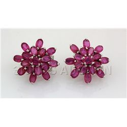 30.75CTW Flower Cluster Pink Ruby Silver Earring