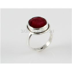 25.98ctw Sterling Silver OvalCut Ruby Beryl Ring