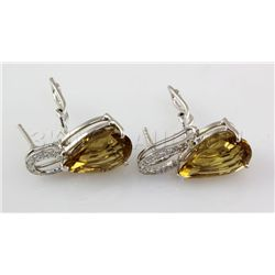 34.20CTW Big Stone Yellow Topaz Silver Earring
