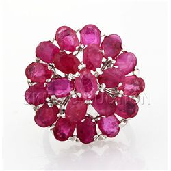 46.55CTW Flower Cluster Pink Ruby Silver Ring