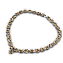 Citrine 48.90 ctw Diamond Necklace 14kt White Gold