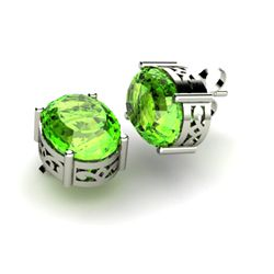 Peridot 5.00ctw Earring 14kt White Gold