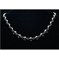 3.14 Sterling Black Sapphire Diamond Necklace