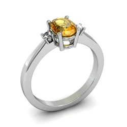 Citrine 0.85 ctw Diamond Ring 14kt White Gold