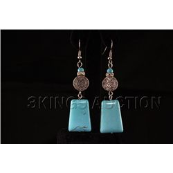 59.77ctw Elegant Dangling Turquoise Silver Earring