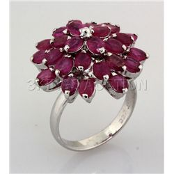 35.91CTW Flower Cluster Pink Ruby Silver Ring