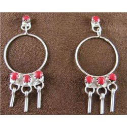 Zuni Post Dangle  Sterling Silver  & Coral Earrings Created by artist Lewis Mateya
