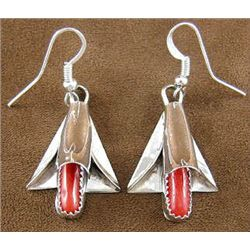 Sterling silver and Coral Hook dangle Squash Blossom Earrings Navajo Artist F. Yazzie
