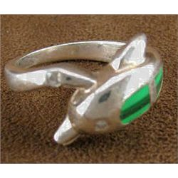 Southwestern Style Sterling silver, Malachite and Cubic Zirconia Dolphin Ring sz 7