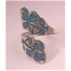 REDUCED!   STERLING SILVER WIDE  CLOVER LEAF OPEN RING    SIGNED FMA TAXCO MEXICO  sz 9  VINTAGE