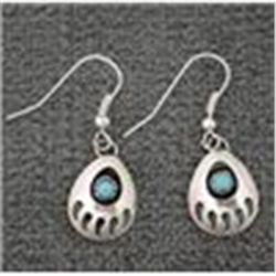 REDUCED!  Genuine Navajo Sterling Silver Turquoise Bear Paw Medium Dangle Earrings