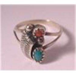 REDUCED!  NAVAJO  STERLING SILVER  RED CORAL & GREEN TURQUOISE STONE RING  sz 5 VTG 50'S