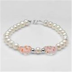 Freshwater Pearl Bracelet with Glass Beads in .925 Sterling Silver