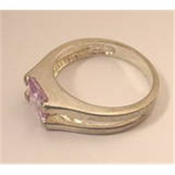 Vintage Princess Cut Tourmaline Sterling Silver Ring