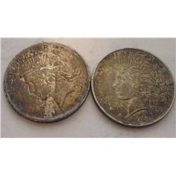 TWO 1922 SILVER PEACE DOLLARS