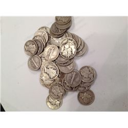 50 MIXED DATES 90%  SILVER MERCURY DIMES