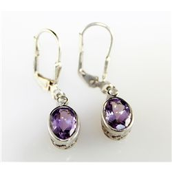 1.5 ctw Lock Back Amethyst Earring