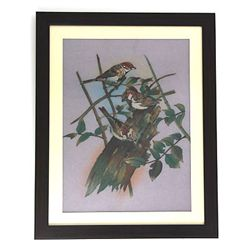 "24 1/2"" x 30 1/2"" Playful 3 Birds Gemstone Painting w/"
