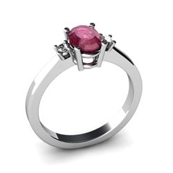 Ruby 1.06 ctw Diamond Ring 14kt White Gold