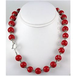 434.55ctw Red Sea Coral Beads Silver Necklace