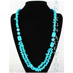 Natural 651.00ctw Turquoise Sterling Silver Necklace