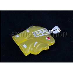 Genuine 27.82ctw Yellow Elephant Jade Pendant