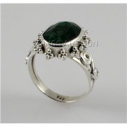 25.77ctw Sterling Silver OvalCut Emerald Beryl Ring