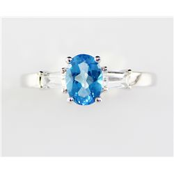 10K Aquamarine Diamond Ring .86 ctw