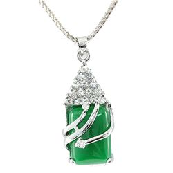 Natural Jade Set Sterling Silver Cubic Zircon Diamonds