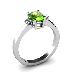 Peridot 0,95 ctw Diamond Ring 14kt White Gold