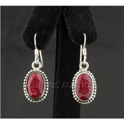Sterling Silver 28.50ctw Oval Ruby Beryl Earring