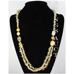 Natural 420.89ctw Yellow Topaz Sterling Silver Necklace