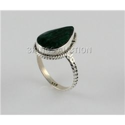 28.02ctw Sterling Silver PearCut Emerald Beryl Ring