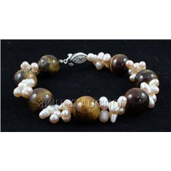 "134.65CTW 8"" TIGER EYE FRESHWATER PEARL WITH CORAL BRAC"