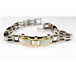 Mens Faux Diamond Stainless Bracelet