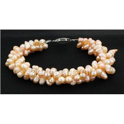 "10"" PEACH RICE PEARL BRACELET METAL LOCK PHILIPPINES"