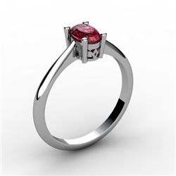 Garnet 0.55 ctw Ring 14kt White Gold