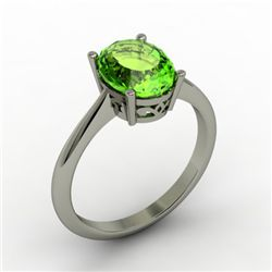 Peridot 2.00 ctw Ring 14kt White Gold