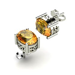 Citrine 1.70ctw Earring 14kt White Gold