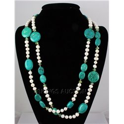 894.00ctw Holiday Party Beaded TurquoiseSilverNecklace