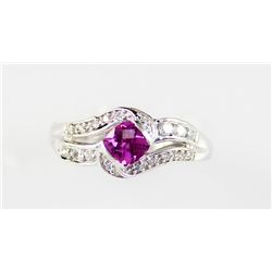 Sterling Platinum .66ctw Ruby Diamond Ring