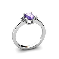 Tanzanite 0.48 ctw Diamond Ring 14kt White Gold