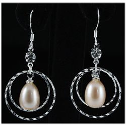 Natural 3.83g Pearl Dangling Sterling Silver Earring