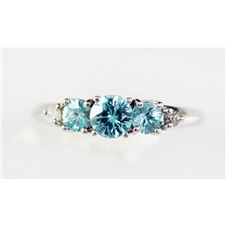 1.06 London Blue Topaz Tanzanite Sterling Ring