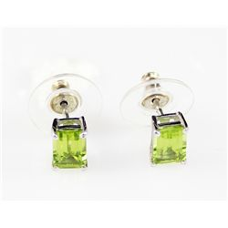 10K Peridot Emerald Cut Earring