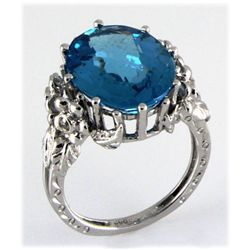 Genuine 12.56ctw Blue Topaz Diamond Ring 14kt W/G