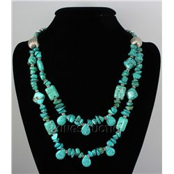 Natural 591.00ctw Turquoise Sterling Silver Necklace