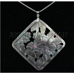 Semi Big 52.36ctw Mother Of Pearl Silver Pendant